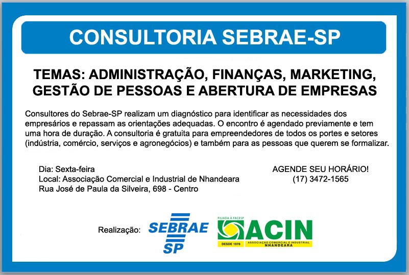CONSULTORIA SEBRAE: MARKETING